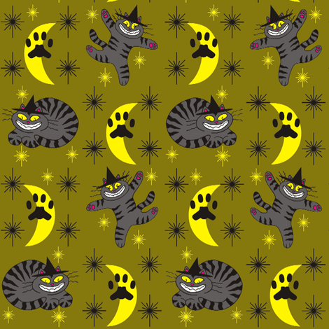 Magical Mr. Midnight in Charcoal & Olive fabric by 3catsgraphics on Spoonflower - custom fabric
