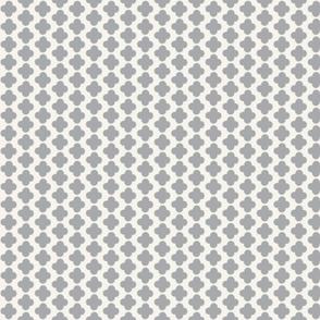 Quatrefoil Mini Print Gray and White