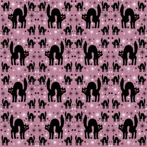 Retro Style Black Cats with Starbursts &amp; Dusty Rose Background