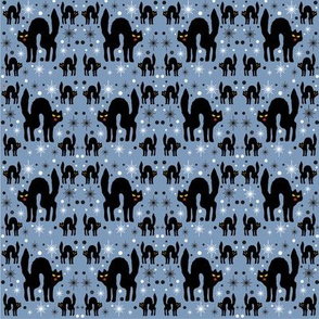 Retro Style Black Cats with Starbursts &amp; Dusty Blueberry Background