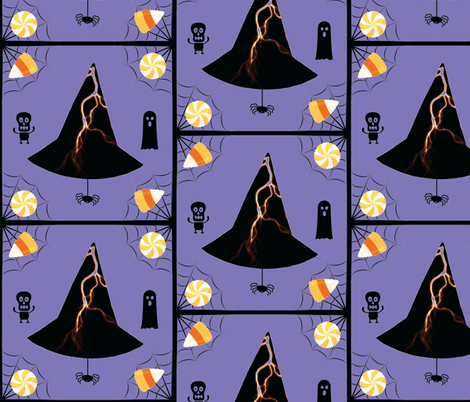 Lightning Hat & Spider - periwinkle fabric by painter13 on Spoonflower - custom fabric