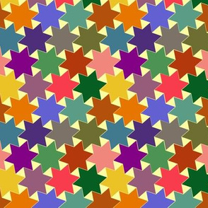 Stars - Purple, Pink, Green, Yellow, Blue, Brown and Orange on Light / White Background