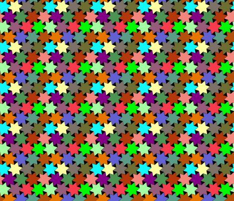 Stars - Purple, Pink, Green, Yellow, Blue, Brown and Orange on Black Background fabric by zephyrus_books on Spoonflower - custom fabric