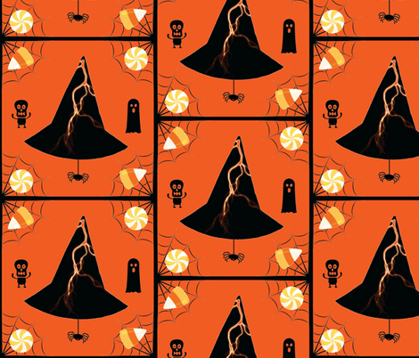 Lightning Hat & Spider - orange fabric by painter13 on Spoonflower - custom fabric