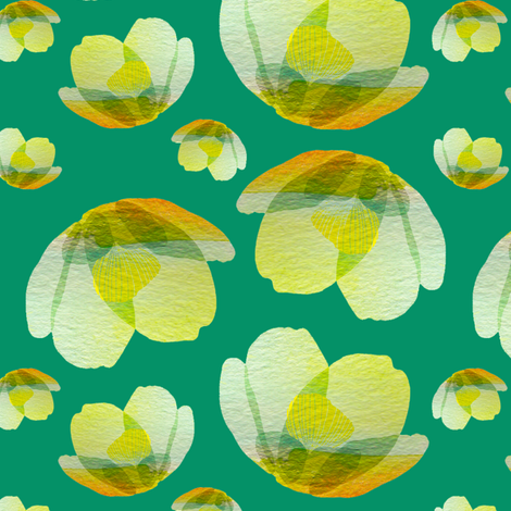 Emerald cherry blossom fabric by sandeehjorth on Spoonflower - custom fabric
