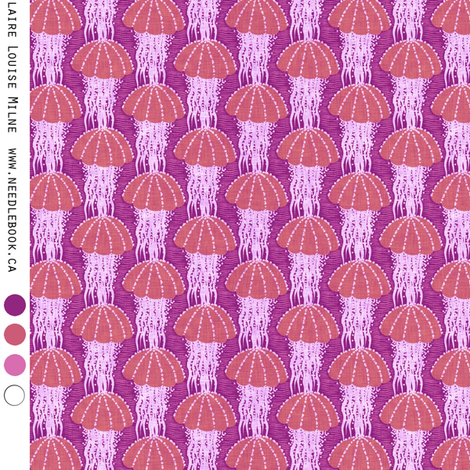 Jellyfish drift : small (25 percent) purple fabric by needlebook on Spoonflower - custom fabric