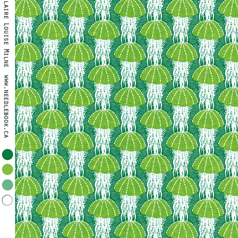 Jellyfish drift : small (25 percent) green fabric by needlebook on Spoonflower - custom fabric