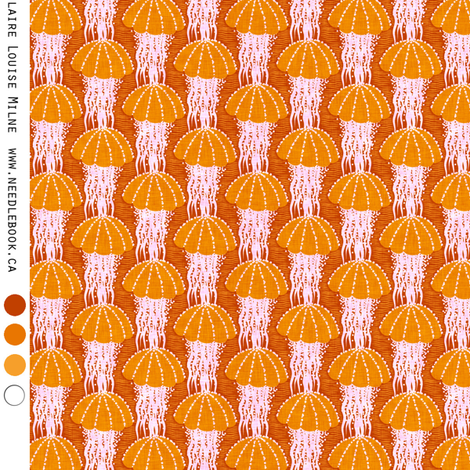 Jellyfish drift : small (25 percent) orange fabric by needlebook on Spoonflower - custom fabric