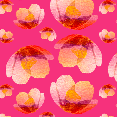 Hot pink cherry blossom fabric by sandeehjorth on Spoonflower - custom fabric