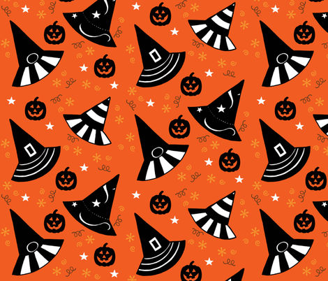 Pumpkin Patch Hats - orange fabric by painter13 on Spoonflower - custom fabric