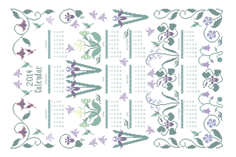 2014 cross-stitch garden linen teatowel calendar  - 18x27in fabric by mina on Spoonflower - custom fabric
