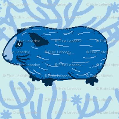 Guinea pig & a bush (Blue)