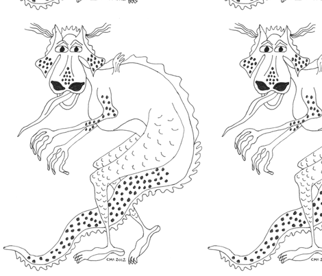 Black and White Walking Dragon fabric by chellybelle on Spoonflower - custom fabric