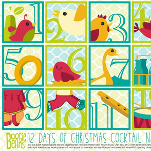 12 days of Christmas Cocktail Napkins
