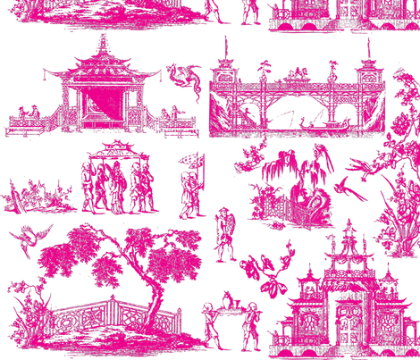 The Emperor`s Pagoda Chinsese Toile fabric by elainebiss on Spoonflower - custom fabric