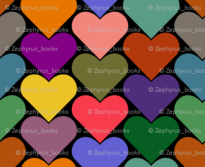 Multi-Colored Hearts - Green, Blue, Yellow, Brown, Pink Purple, Orange