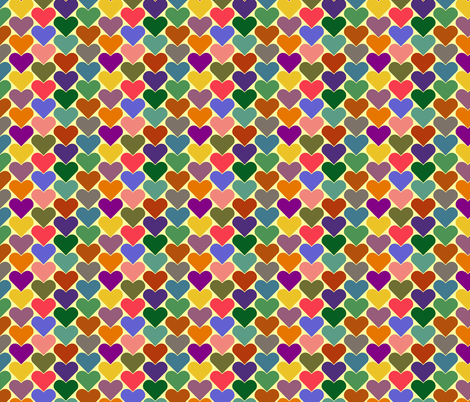 Multi-Colored Hearts - Yellow, Pink, Green, Blue, Purple fabric by zephyrus_books on Spoonflower - custom fabric