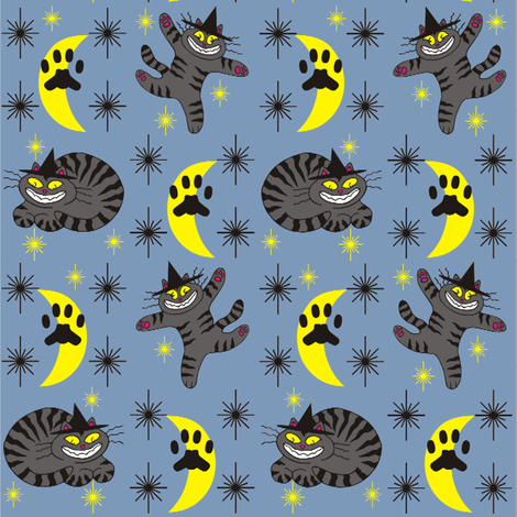 Magical Mr. Midnight in Charcoal & Dusty Blueberry fabric by 3catsgraphics on Spoonflower - custom fabric