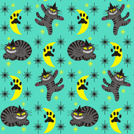 Magical Mr. Midnight in Charcoal, Teal, &amp; Black fabric by 3catsgraphics on Spoonflower - custom fabric