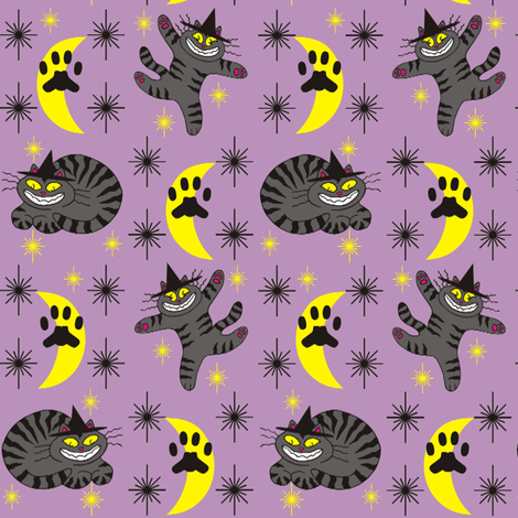Magical Mr. Midnight in Charcoal &amp; Plum fabric by 3catsgraphics on Spoonflower - custom fabric