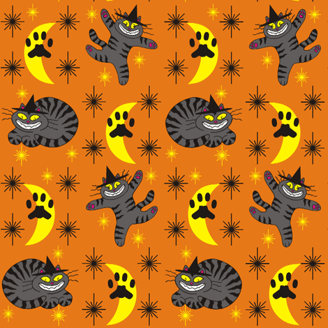 Magical Mr. Midnight in Charcoal & Pumpkin fabric by 3catsgraphics on Spoonflower - custom fabric
