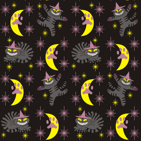 Magical Mr. Midnight in Charcoal, Dusty Rose, &amp; Black fabric by 3catsgraphics on Spoonflower - custom fabric