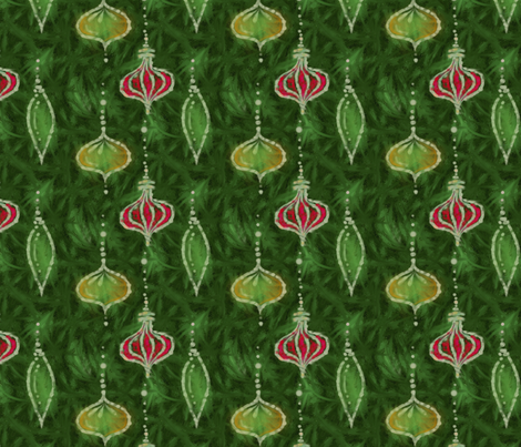 Batik Tree Ornaments -- in reds and greens fabric by wren_leyland on Spoonflower - custom fabric