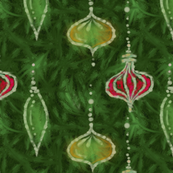 Batik Tree Ornaments -- in reds and greens