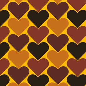 Multi-Colored Hearts - Black, Yellow, Brown