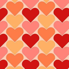 Multi-Colored Pink and Red Hearts - Pinks Pale Reds