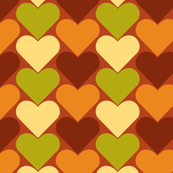 Multi-Colored Hearts - Green, Brown, Yellow Orange