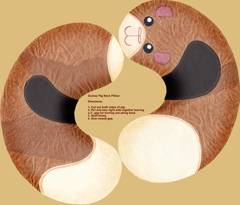 Guinea Pig Neck Pillow fabric by shiro on Spoonflower - custom fabric