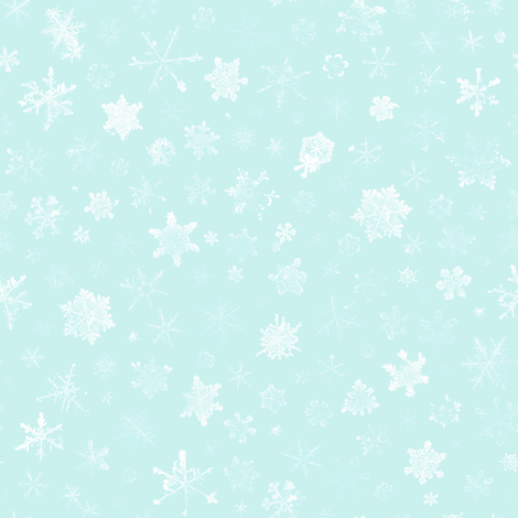 photographic snowflakes on pale ice blue fabric by weavingmajor on Spoonflower - custom fabric