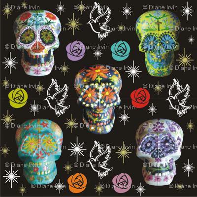 Colorful Sugar Skulls with Starbursts, Doves & Roses