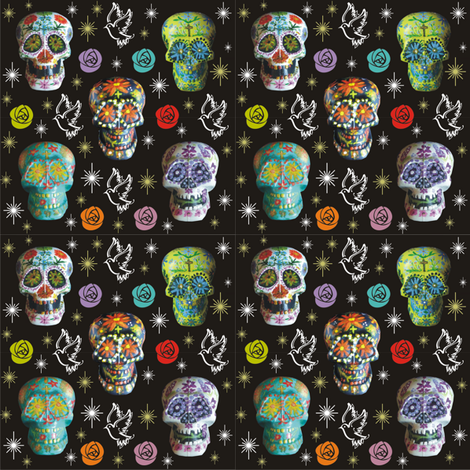 Colorful Sugar Skulls with Starbursts, Doves &amp; Roses fabric by 3catsgraphics on Spoonflower - custom fabric