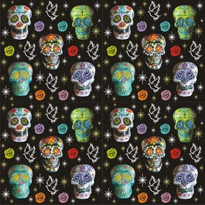 Colorful Sugar Skulls with Starbursts, Doves &amp; Roses