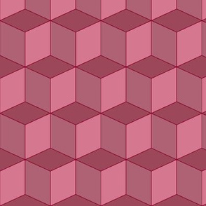 Colorful Tessellated Squares - Red Pink