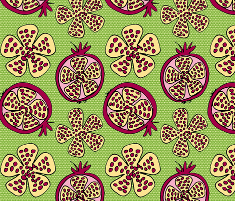 Pomegranate Fruit pink with green texture fabric by holly_helgeson on Spoonflower - custom fabric