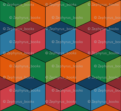 Colorful Tessellated Squares - Orange, Green Blue, Red