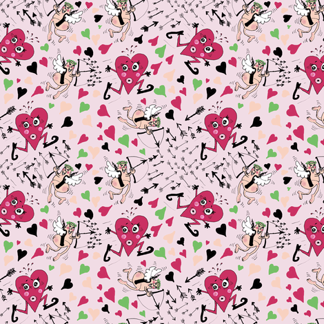 Run, Dear Heart, Cupid's Arrow is Coming!!! fabric by amy_g on Spoonflower - custom fabric