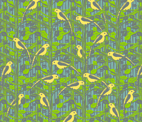 Birdies in the Garden fabric by glimmericks on Spoonflower - custom fabric