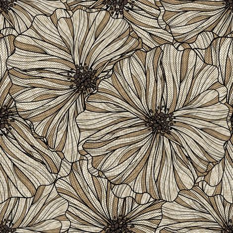 Neutral Linen floral  fabric by vo_aka_virginiao on Spoonflower - custom fabric