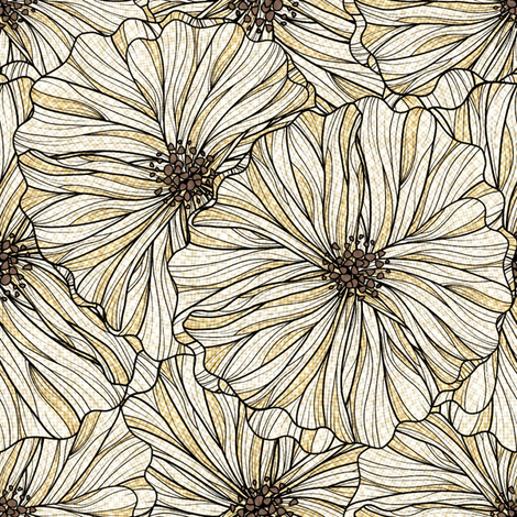 Light Neutral Linen Floral fabric by vo_aka_virginiao on Spoonflower - custom fabric