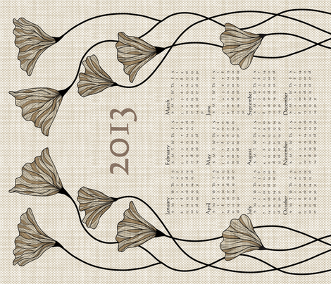 2013 Neutral Linen Calendar fabric by vo_aka_virginiao on Spoonflower - custom fabric