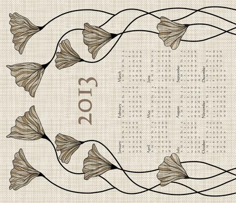 2013 Neutral Linen Calendar fabric by vo_aka_virginiao on Spoonflower - custom fabric