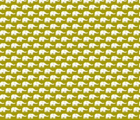 SMALL Elephants in olive green fabric by katharinahirsch on Spoonflower - custom fabric