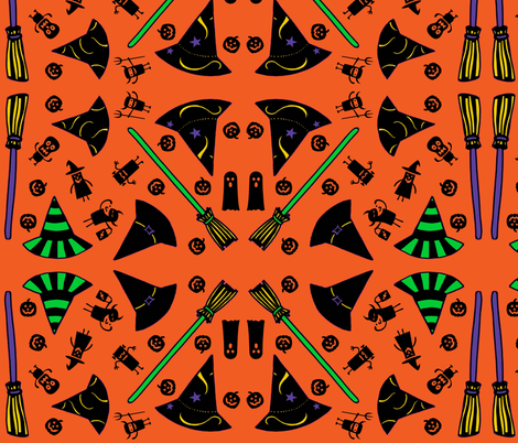Trick-or-Treat - orange fabric by painter13 on Spoonflower - custom fabric