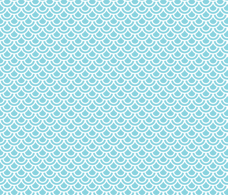 Double scales in aqua fabric by little_fish on Spoonflower - custom fabric