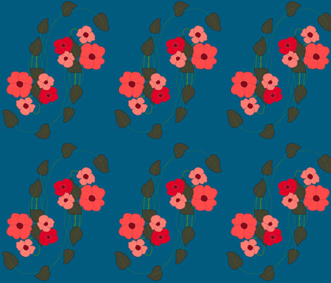 floral on blue fabric by rcm-designs on Spoonflower - custom fabric