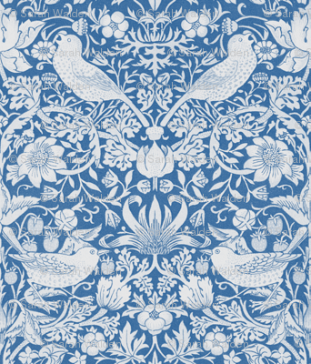William Morris ~ Strawberry Thief ~ Blue & White